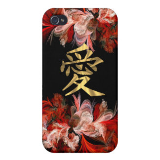 Chinese love symbol on red fractal iPhone 4/4S cases