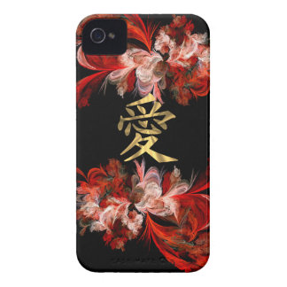 Chinese love symbol on red fractal iPhone 4 cover