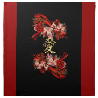 Chinese love symbol on red fractal napkin