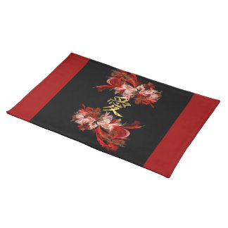 Chinese love symbol on red fractal placemat