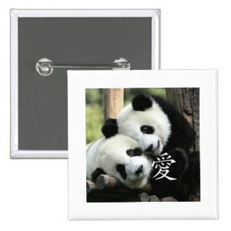 Chinese Loving Little Giant Pandas 15 Cm Square Badge