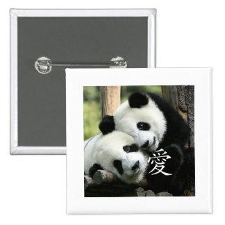 Chinese Loving Little Giant Pandas 15 Cm Square Badge