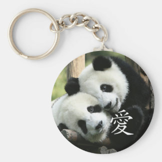 Chinese Loving Little Giant Pandas Basic Round Button Key Ring