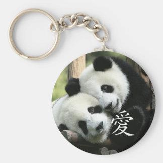Chinese Loving Little Giant Pandas Basic Round Button Key Ring