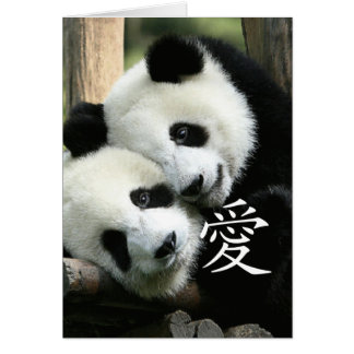 Chinese Loving Little Giant Pandas Card