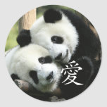 Chinese Loving Little Giant Pandas Round Stickers