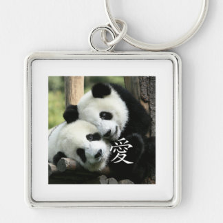 Chinese Loving Little Giant Pandas Silver-Colored Square Key Ring