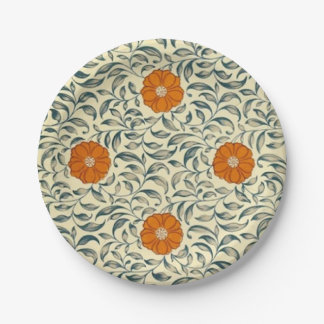 Chinese mandarin floral paper plate
