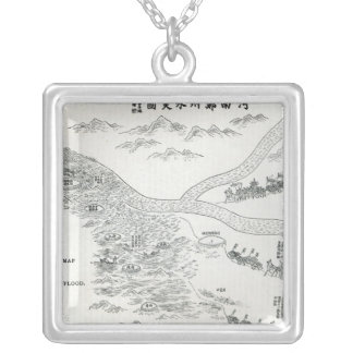 Chinese map of the Great Flood Silver Plated Necklace