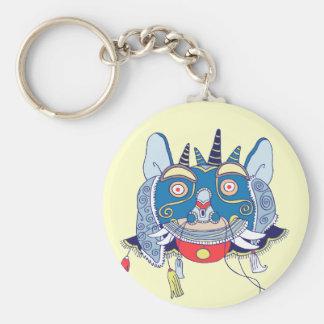 Chinese Mask Basic Round Button Key Ring