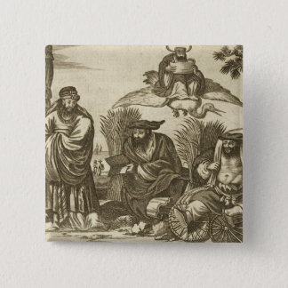 Chinese Merchants Consulting Fortune Tellers to En 15 Cm Square Badge