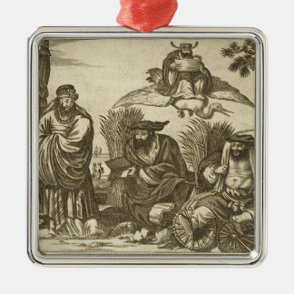 Chinese Merchants Consulting Fortune Tellers to En Silver-Colored Square Decoration