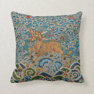 Chinese Military Rank Badge with Stylized Animal Cushion