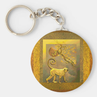 Chinese Monkey~ New Year Moon & Plum Blossoms Basic Round Button Key Ring