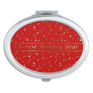 Chinese Monkey Year Golden Star Red Compact Mirror