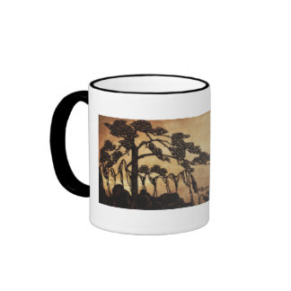 Chinese mountain landscape and poem in light brown ringer mug