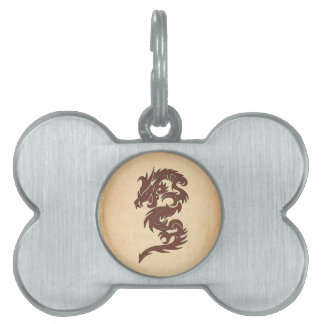 Chinese Mythology Dragon, Old Paper - Red Orange Pet ID Tags