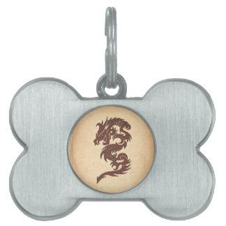 Chinese Mythology Dragon, Old Paper - Red Orange Pet Name Tag