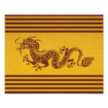 Chinese Mythology Dragon, Stripes - Red Gold Photographic Print