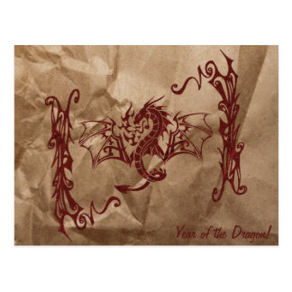 Chinese Mythology Dragon, Wrinkled Paper - Red Postcard