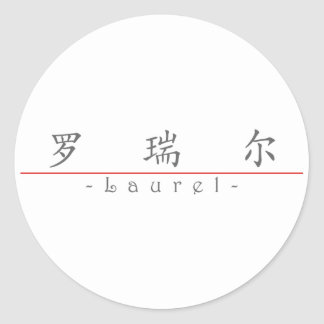 Chinese name for Laurel 20199_1.pdf Round Stickers