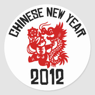 Chinese New Year 2012 Classic Round Sticker
