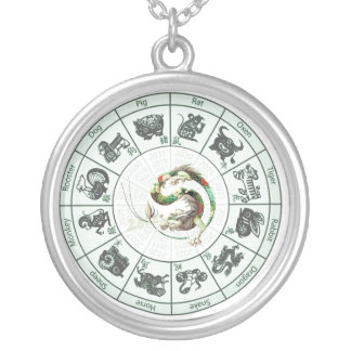 Chinese New Year - 2012 - The Year of the Dragon Round Pendant Necklace