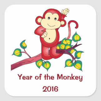 Chinese New Year 2016 Red Monkey Stickers