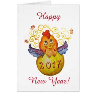 Chinese new year 2017 rooster greeting card