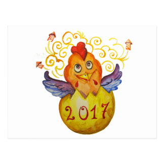 Chinese new year 2017 rooster postcard