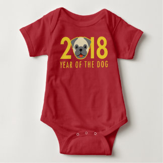 Chinese New Year 2018 Year of the Dog Pug Baby Bodysuit