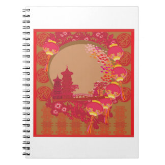 Chinese New Year Card - Traditional Lanterns 2 Notebooks