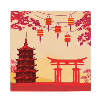 Chinese New Year Card - Traditional Lanterns Maple Wood Coaster