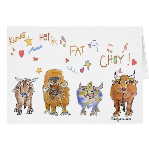 Chinese New Year Cartoon Ox Greeting Card