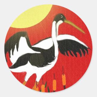 Chinese New Year Crane Round Sticker
