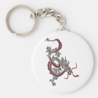 Chinese New Year Dragon Basic Round Button Key Ring