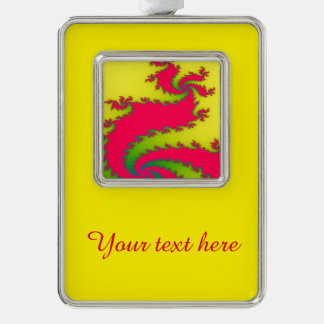 Chinese New Year Dragon Fractal Custom Ornament Silver Plated Framed Ornament