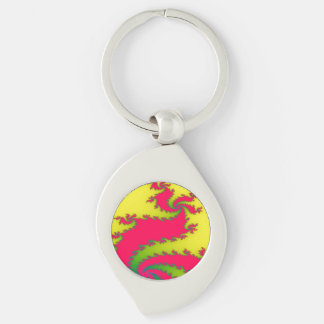 Chinese New Year Dragon Fractal Keychain Silver-Colored Swirl Key Ring