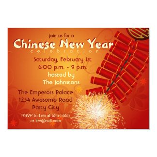 "Chinese New Year Firecrackers Invitation 5"" X 7"" Invitation Card"