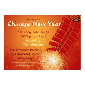Chinese New Year Firecrackers Invitation