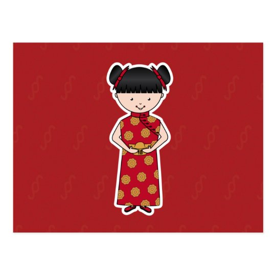 Chinese New Year Girl Postcard