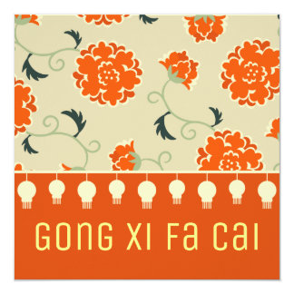 Chinese New Year Gong Xi Fa Cai greetings 13 Cm X 13 Cm Square Invitation Card