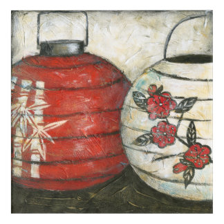 Chinese New Year Lanterns with Floral Print Acrylic Wall Art