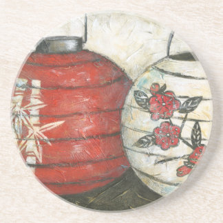 Chinese New Year Lanterns with Floral Print Coaster