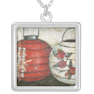 Chinese New Year Lanterns with Floral Print Silver Plated Necklace