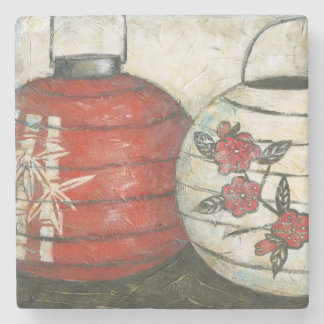 Chinese New Year Lanterns with Floral Print Stone Beverage Coaster