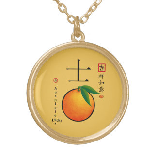 Chinese new year lucky charm characters round pendant necklace
