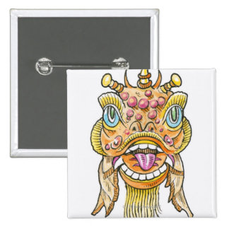 Chinese New Year Mask 15 Cm Square Badge