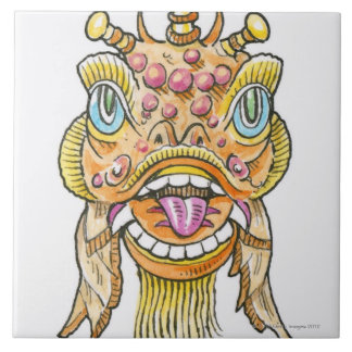 Chinese New Year Mask Large Square Tile