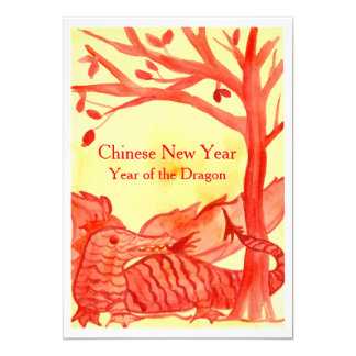 Chinese New Year of the Dragon Red Party 13 Cm X 18 Cm Invitation Card